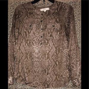 Sheer snakeskin half-button blouse